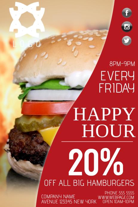 hamburger fast food happy hpur specials sale flyer template