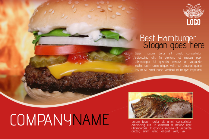 Hamburger Fast Food Flyer Template Landscape Red | Postermywall