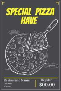 Hand Draw Pizza Flyer Black Background
