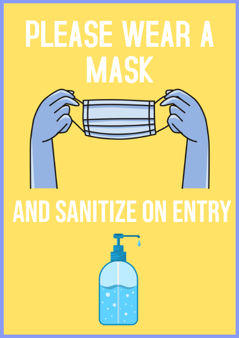 Hand sanitizer and mask A4 template