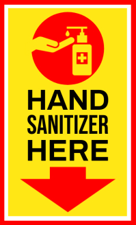 Hand Sanitizer Here Sign Board Template