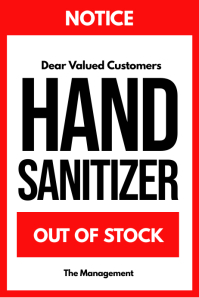 Hand Sanitizer Out of Stock Sign Poster Covid