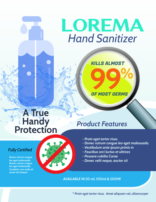 Hand Sanitizer Product Flyer template