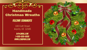 Handmade Christmas Wreath Business Card Visitekaartje template