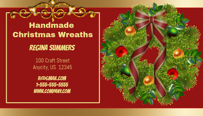 Handmade Christmas Wreath Business Card Customize Template