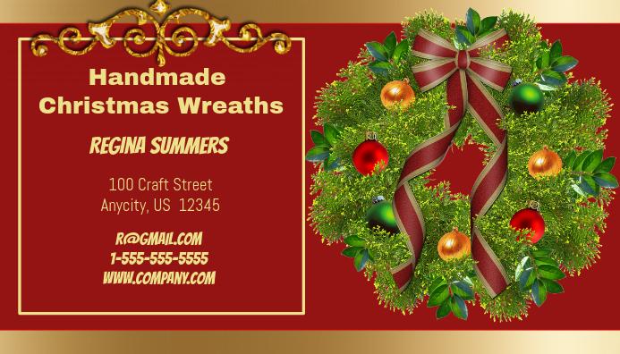 Handmade Christmas Wreath Business Card Visitekaartje template