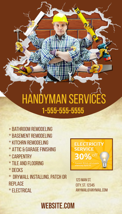 Handyman business card template postermywall handyman business card customize template fbccfo Choice Image