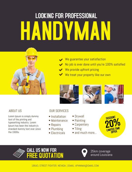 Handyman Service Flyer Template PosterMyWall