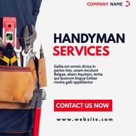 handyman services advertisement red and dark Instagram Post template