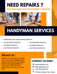Handyman services flyer orange white and dark template