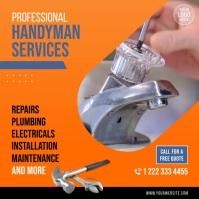Handyman Services Video Ad Carré (1:1) template