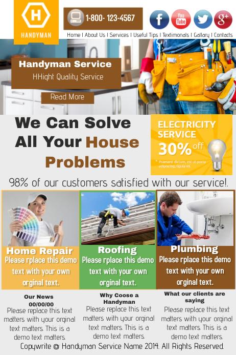Handyman Website Service Template | PosterMyWall