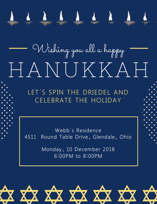 Hannukah Wish and Party Invitation Template