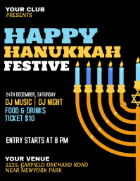 hanukkah, shabbat, hanukah, chanukah, kwanzaa Рекламная листовка (US Letter) template