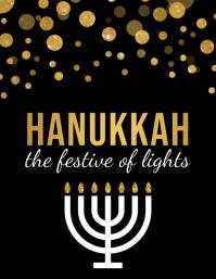 hanukkah, shabbat, hanukah, chanukha, kwanzaa Рекламная листовка (US Letter) template