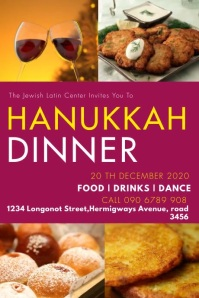 HANUKKAH DINNER FLYER Banner 4' × 6' template