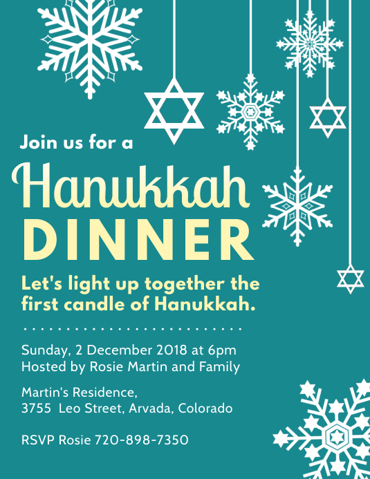 Hanukkah Dinner Invitation Flyer Template Volante (Carta US)