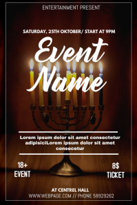 Hanukkah event flyer template