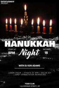 Hanukkah event party flyer template