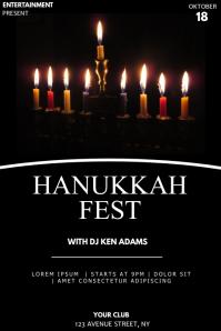 Hanukkah fest event party flyer template