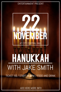 Hanukkah party flyer template