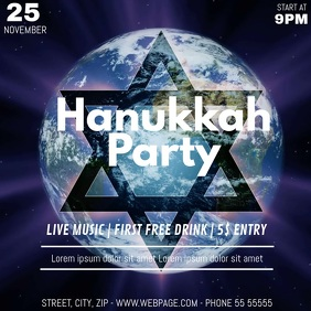 Hanukkah party video flyer template Kwadrat (1:1)