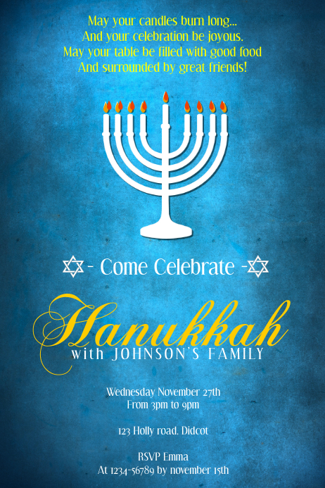 Hanukkah Poster Template Póster