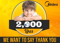 Happy 2000 Likes Carte postale template