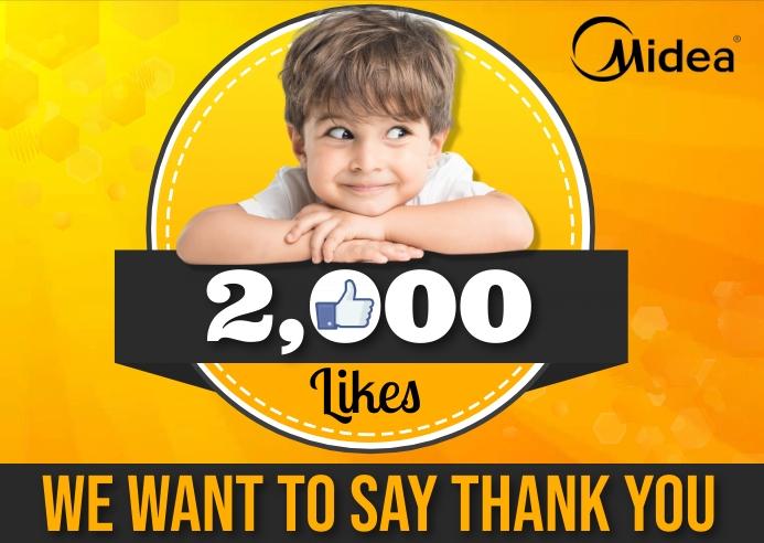 Happy 2000 Likes 明信片 template