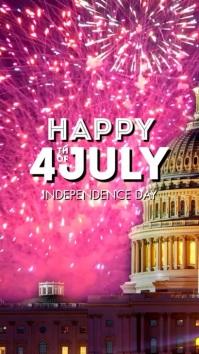 Happy 4th Of July Greeting card Din Template เรื่องราวบน Instagram
