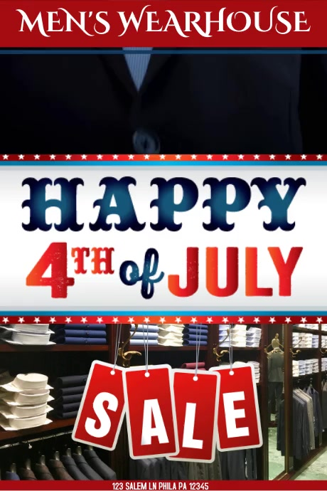 HAPPY 4TH OF JULY MENS WHAREHOUSE VIDEO Plakat template