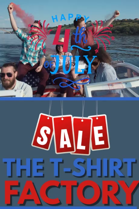 HAPPY 4TH OF JULY SALE VIDEO Cartaz template