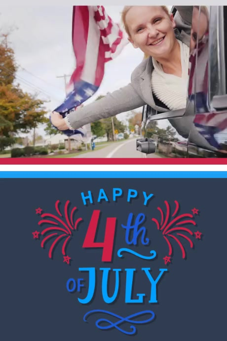 HAPPY 4TH OF JULY VIDEO Póster template