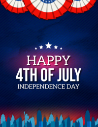 HAPPY 4TH OF JULY WISHES FLYER TEMPLATE
