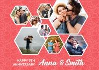 Happy Anniversary Photo Collage Template Открытка