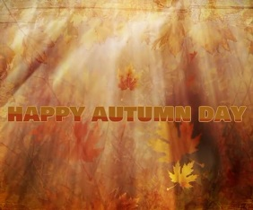 happy autumn day template Persegi Panjang Besar