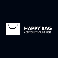 happy bag whit and dark blue colors logo template
