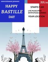 Happy bastille day, bastille day greeting Pamflet (VSA Brief) template