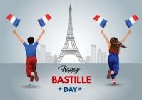 Happy Bastille day Postcard template