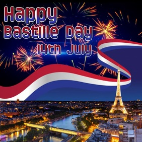 Happy Bastille Day video Instagram Post template