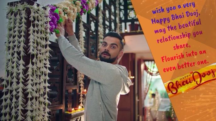 Happy Bhai Dooj wish animated gif Digital na Display (16:9) template
