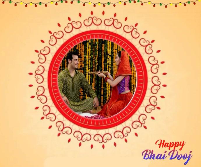 Happy Bhai Dooj wishes Font Animated Template สามเหลี่ยมขนาดกลาง