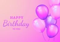 happy birthday balloon design Postcard template