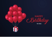 happy birthday balloon with gift Postcard template