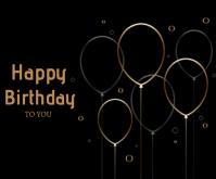 Happy Birthday Black Card with golden line Medium Rectangle template