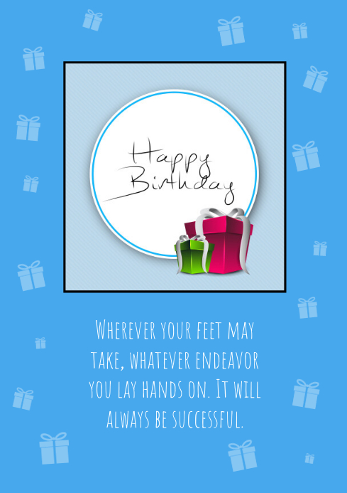 Happy Birthday Card Blue Din Wishes Greetings Template Postermywall