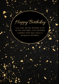 Happy Birthday Card Gold Black Greeting Wish