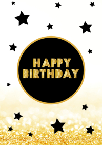 Happy Birthday Card Gold Stars Black Greeting