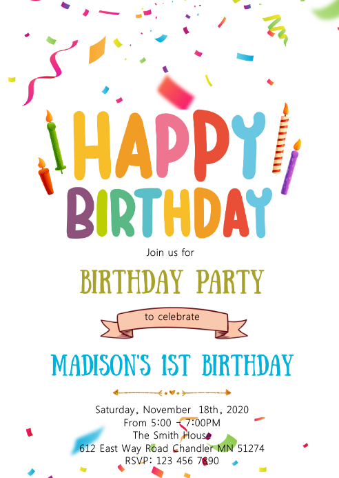 happy birthday card party invitation template  postermywall