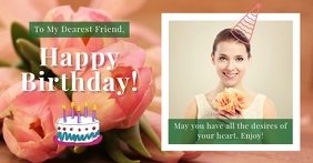 Happy Birthday Card with flowers and photo